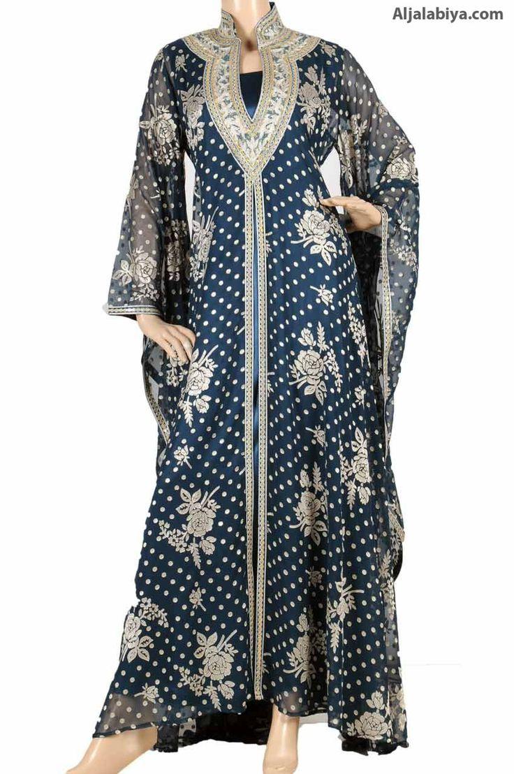 "aljalabiya.com: ""Teal Night Rose kaftan"" Velvet chiffon abaya with embroidery (WN-782) $163.50"