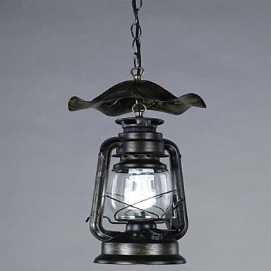 Vintage Brass Lantern Pendant Light with 1 Light