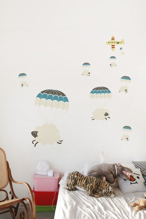 For a little boy's nursery: Sheepy Clouds wall decals via @whatisblik