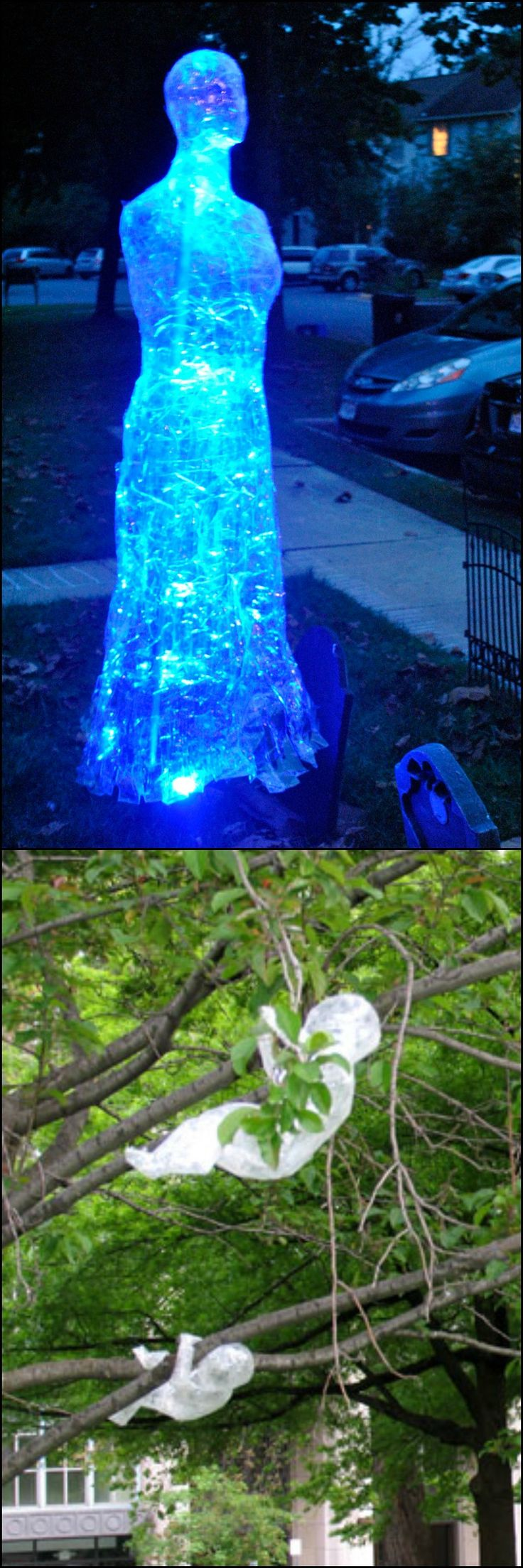 How to make packing tape ghost halloween ideas the o for Animated floating ghost decoration