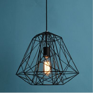 Moderna de la colmena de diamantes de hierro jaula Lustre luz colgante rústica…