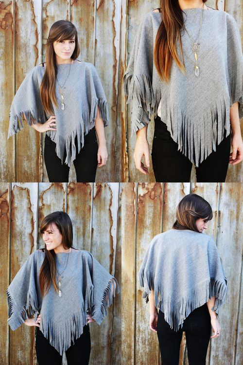 DIY no sew wool poncho! use one yard of wool fabric, cut out the neckline and fringe! done