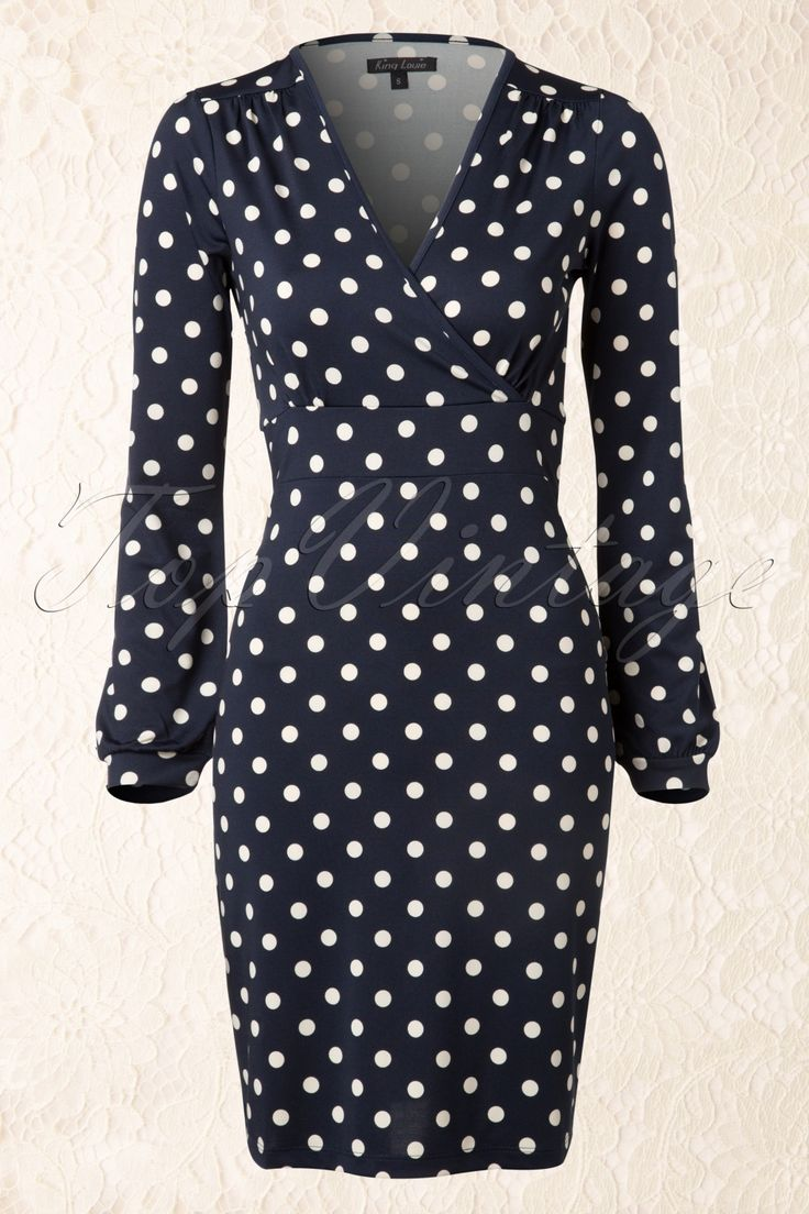 King Louie - 40s Lois Fitted Dress in Inkblue Partypolka