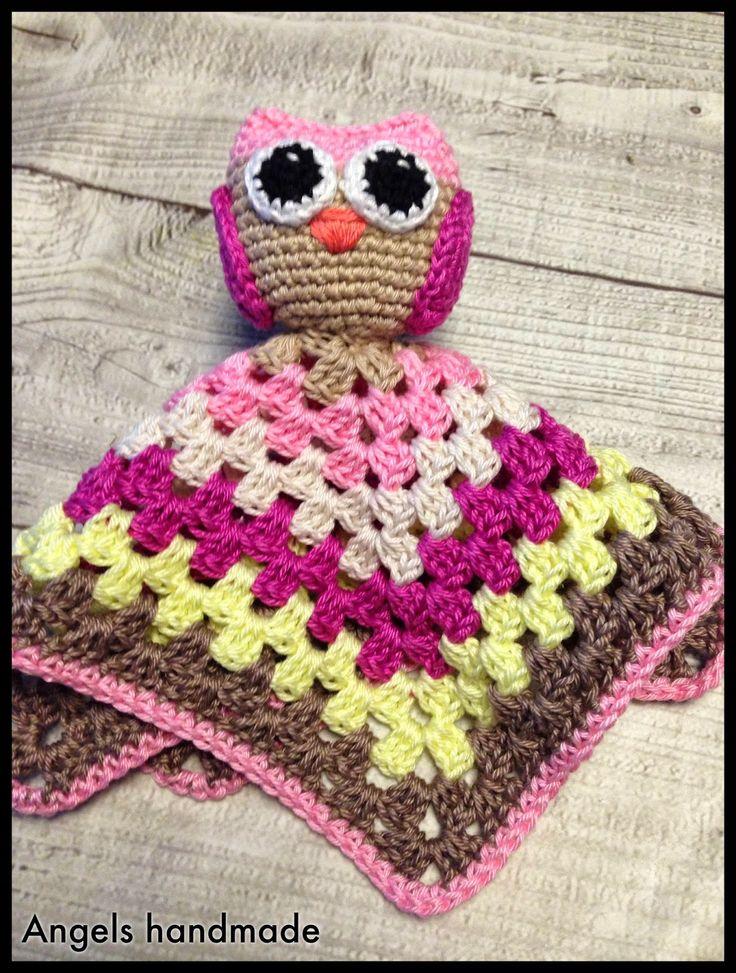 Gehaakte uilen knuffeldoekje, gratis patroon. Crochet owl baby kuddle blanket free pattern