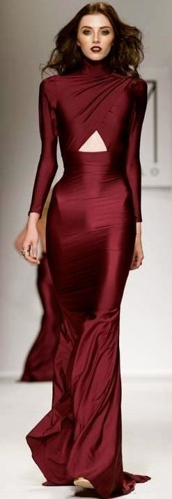 Love the COLOR on this Marsala silk gown