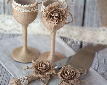 4 Burlap Flowers Napkin Rings Rustic Wedding by VioletAtelier