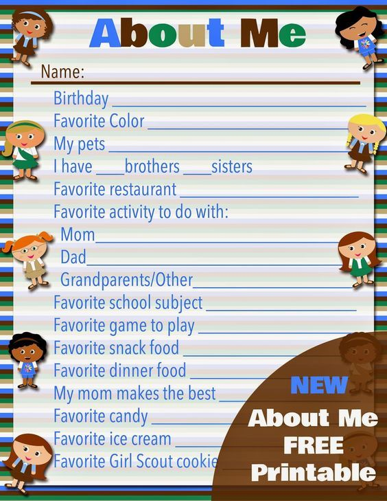 FREE Printable: Girl Scouts About Me | Girl scout meeting ...