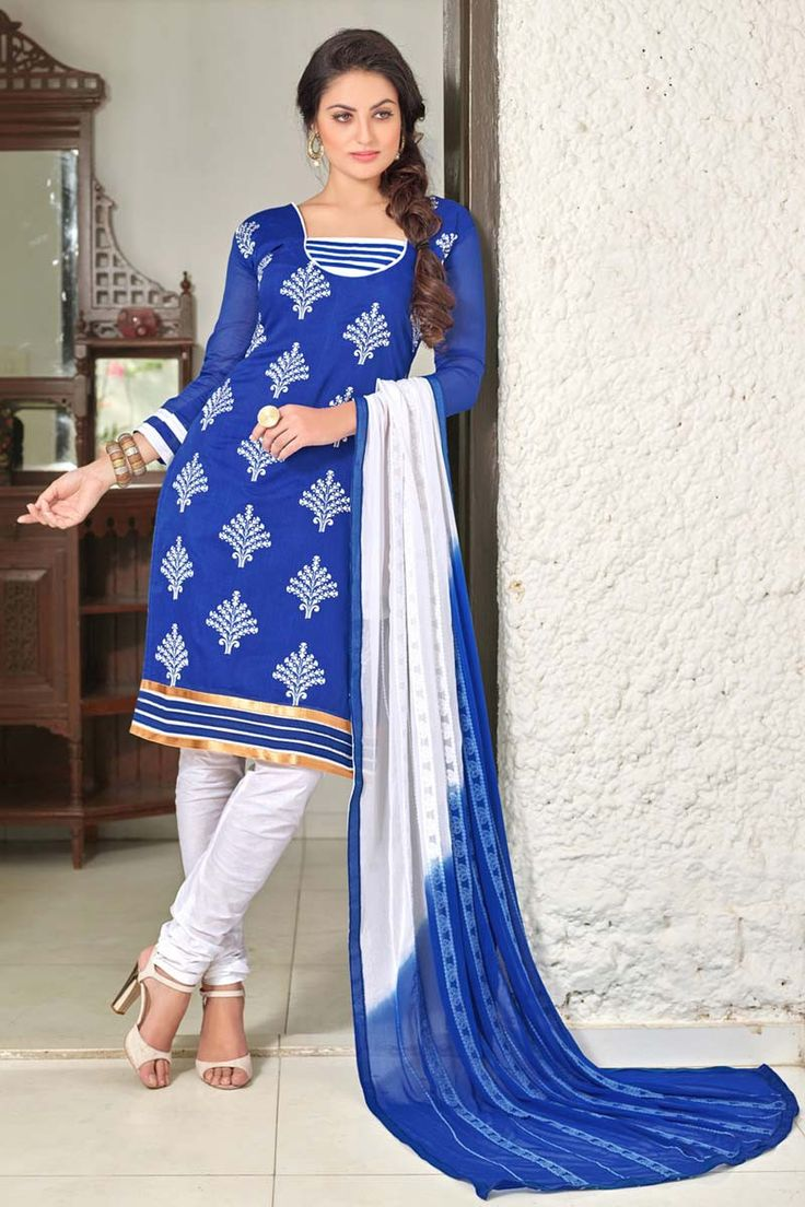 Blue Chanderi Party Wear Salwar Kameez