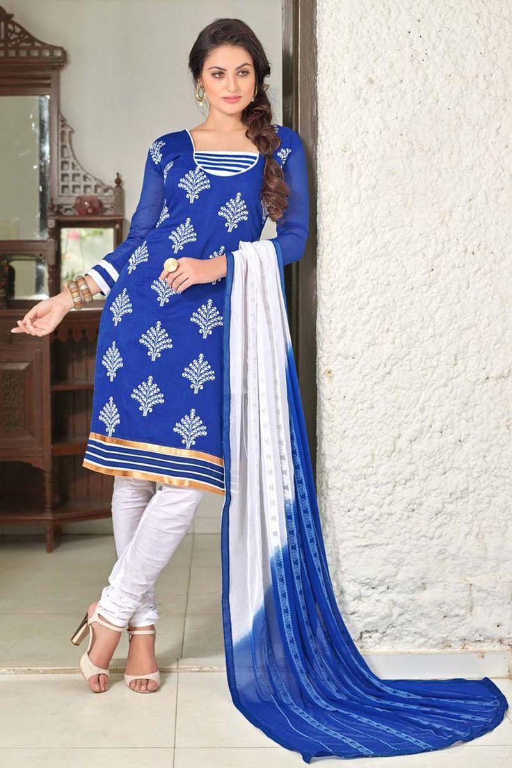 Blue Chanderi Party Wear Salwar Kameez