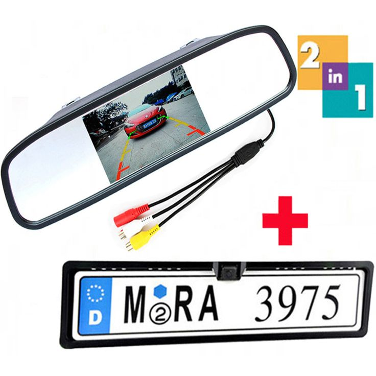 4.3 Inch Auto Mirror Dispaly Car Monitor Car Rearview Mirror Monitor with EU Russia License Plate Frame Rear View Backup Camera