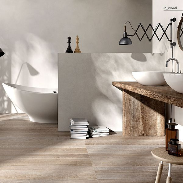 IN_WOOD Porcelain Tile Wood Effect   Six varieties with brown or neutral tones, inviting you to a wonderful getaway under the auspices of continuity and innovation.
