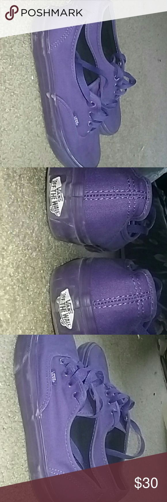 Purple vans Purple vans size 5.5 men's 7 in women's. Trying to get rid of stuff I don't wear. Feel free to ask any questions! (please comment if interested before buying) Vans Shoes