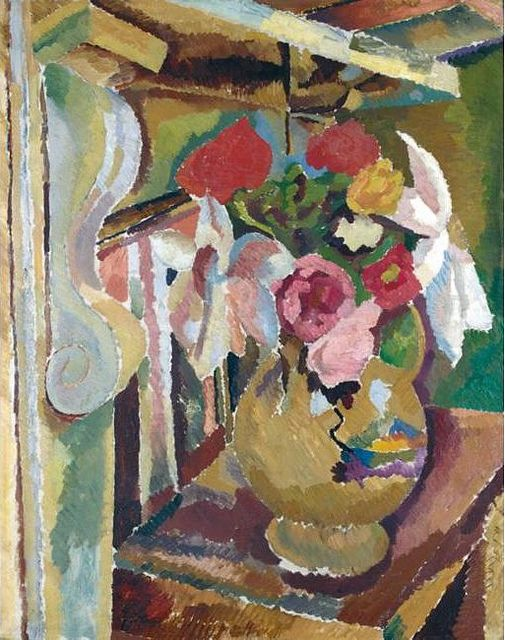 Grant, Duncan (1885-1978) - 1918 Still Life With Flowers Below a Mantelpiece