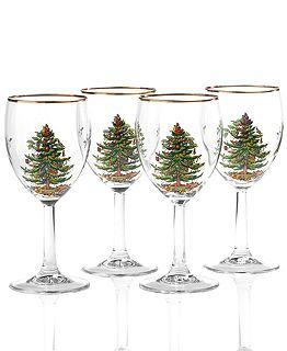 Spode Dinnerware, Christmas Tree Collection -Wine Glasses