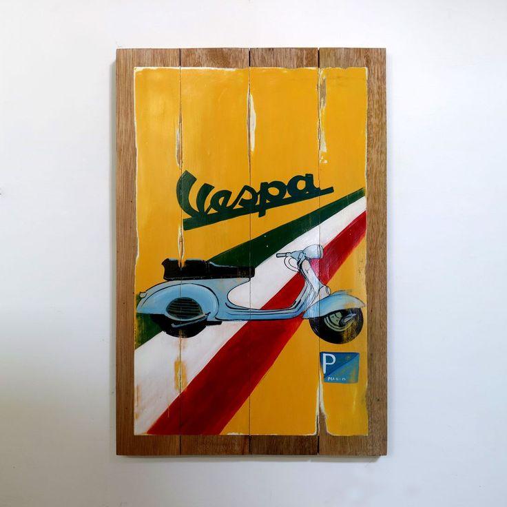 Scuter yang satu ini emang gak ada matinya desainnya yang unik mampu menembus batas ruang dan waktu tak heran saat ini kendaraan ini menjadi salah satu ikon kuat dunia vintage.  WOODPAINTING Dimensi. 40 x 60 x 2 cm  Berat. sekitar 2-3 kilo Harga. Rp. 275.000 sadja  #woodsign #posterkayu #desaincafe #hiasandinding #woodcraft #homedecor #dekorasirumah #vintagesign #painting #vintage #retro #walldecor #homedesign #vespa #scuter