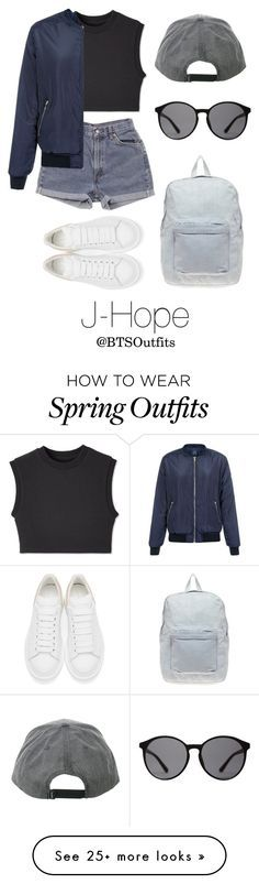 """Spring Outfit Inspired by J-Hope"" by btsoutfits on Polyvore featuring Levi's, Alexander McQueen, American Apparel, Linda Farrow, women's clothing, women, female, woman, misses and juniors"