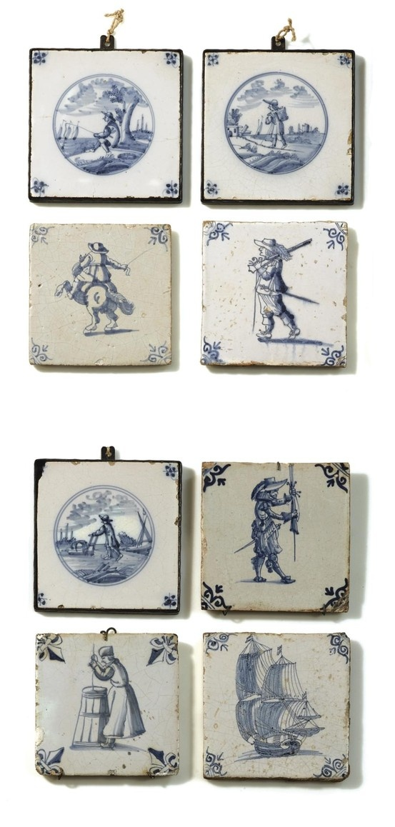 A COLLECTION OF DUTCH BLUE AND WHITE DELFT TILES, MOSTLY 17TH CENTURY: