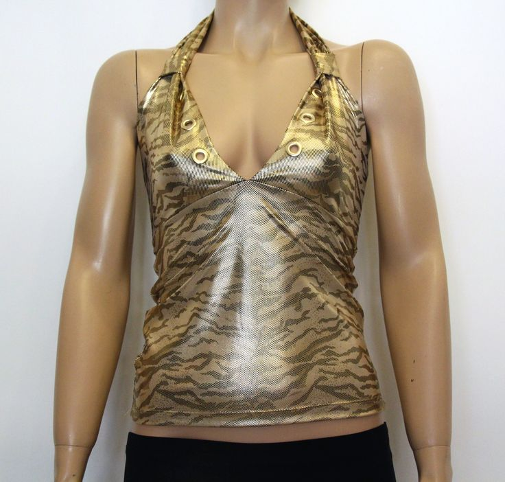 Abiye Tarzı Dore Rengi Leopar Desenli Straplez Sırtı Açık Boyundan Bağlamalı Bluz Büstiyer Modelleri ile Clubwear Gece Parti Kıyafetleri Kadın Modası