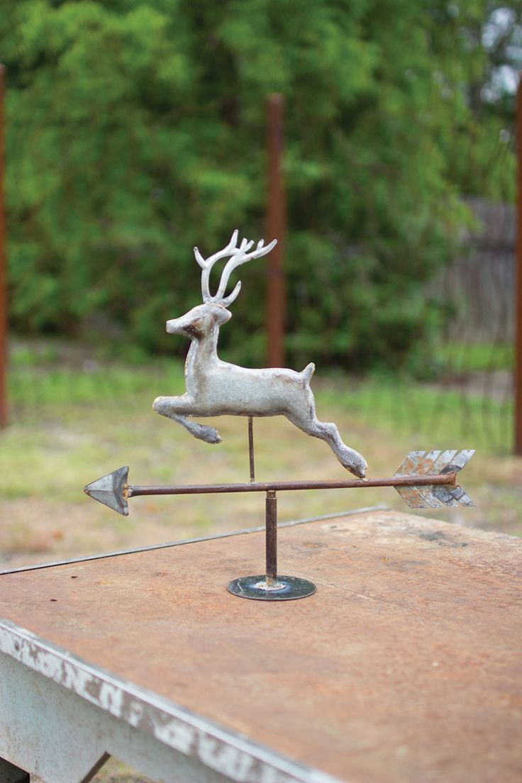 "Display this rustic weather vane atop your mantle, bookshelf, or dinning room table. Its aged, rustic finish gives this classic ornament an antique charm that'll only improve with age!18"" x 16""t"