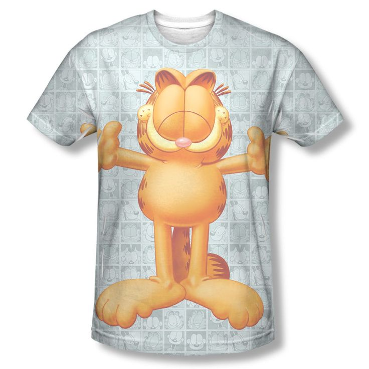 Garfield Free Hugs Comic Strip Collage Photo Sublimation Front Only T-shirt Top Mens Sizes: S, M, L, XL, 2XL