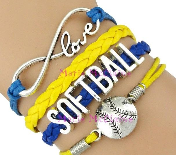 Softball Bracelet - Blue/Yellow