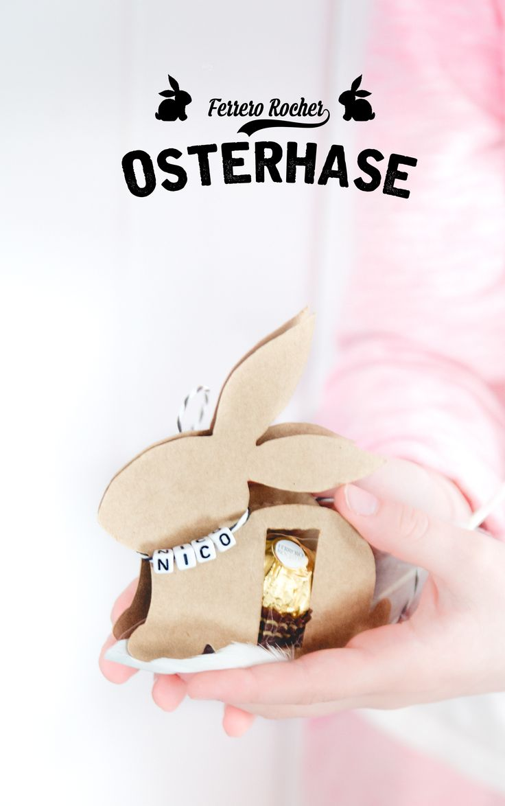 Anleitung für den DIY Osterhasen mit Ferrero Rocher (inklusive Gratis-Vorlage) - perfekt als Tischkarte für den Osterbrunch oder als selbstgemachtes Mitbringsel zu Ostern - by http://titatoni.blogspot.de - DIY easter bunny made with Ferrero Rocher - a perfekt little handmade gift!