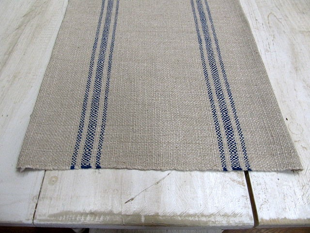 FRENCH LAUNDRY Parisian Stripe Blue On clay  Tablerunner. via Etsy.