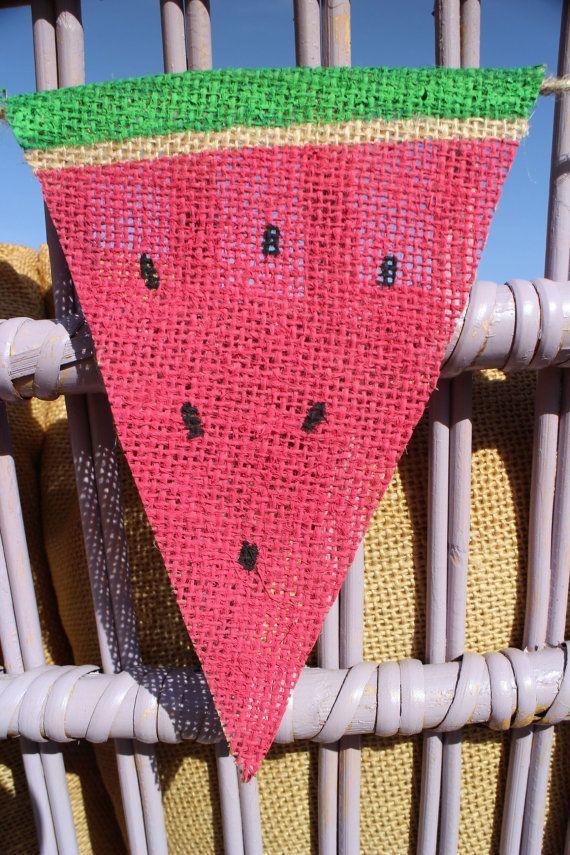 Watermelon Garland.Watermelon Burlap by HelloLizzyLane on Etsy