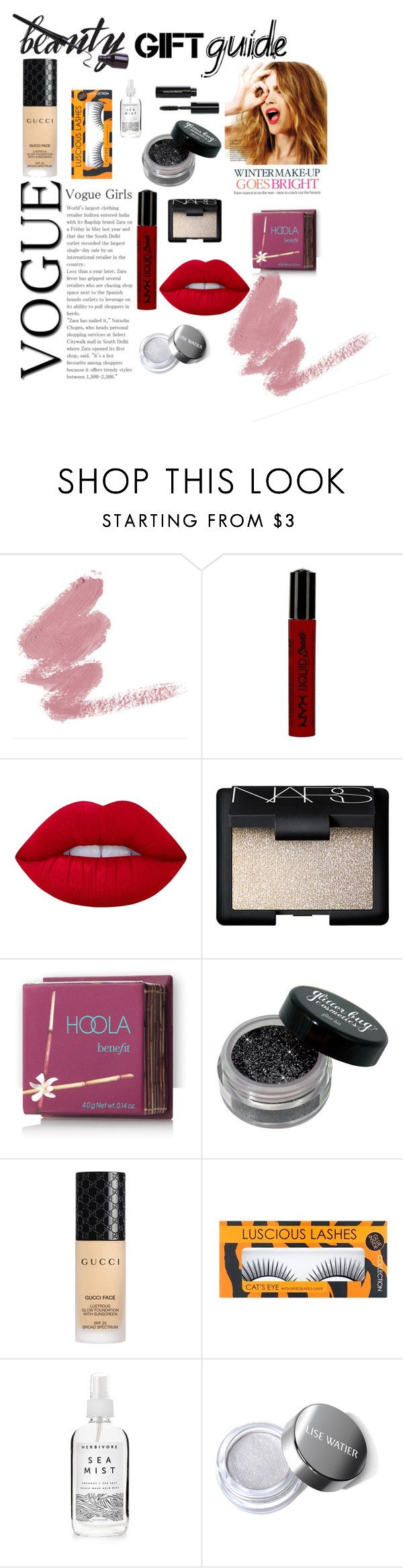 """""""Christmas gift guide"""" by wheresmaryjane ❤ liked on Polyvore featuring beauty, Celestine, NYX, Lime Crime, NARS Cosmetics, Hoola, Gucci, Herbivore and Bobbi Brown Cosmetics"""