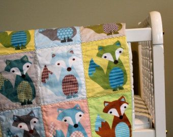 Couverture de bébé renard bébé QUILT de PÉTUNIAS - bébé cadeau nouveau-né douche cadeau vintage moderne chambre décor renard brun orange vert gris gris