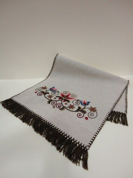 Handmade embroidered kress linen tablecloth, with crowned tulip pattern, 35 x 75 cm, tufted edge