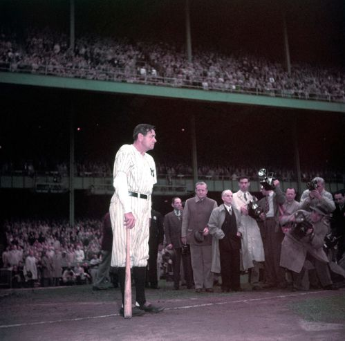 Babe Ruth waits to speak at Yankee Stadium, June 13, 1948, the day the Bombers retired his uniform number.