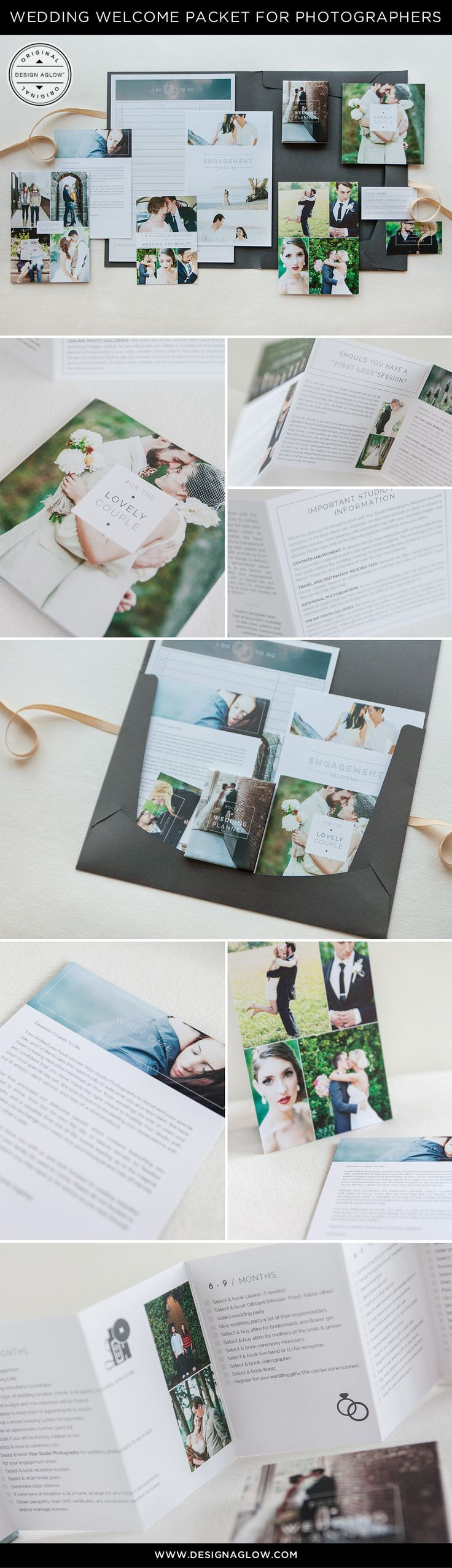 We've put together everything you need to help your modern wedding brand with original marketing content and templates that guide clients through every step of the process. A must have for wedding photographers. #designaglowhttp://www.designaglow.com/products/wedding-welcome-packet-minimalist-edition