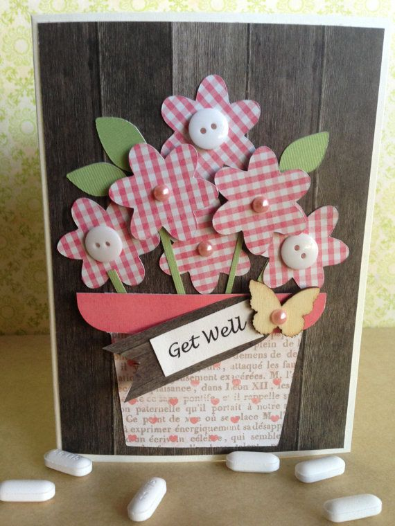 """In Bloom Collection: Handmade """"Get Well"""" card with pink gingham daisies in a flower pot $3.50"""