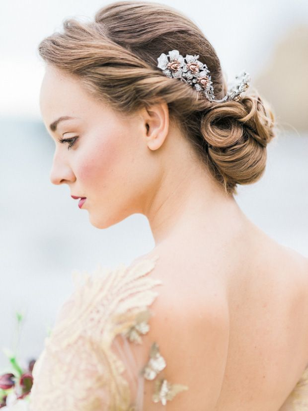 Wedding Hairstyles: 15 Oh So Romantic Bridal Updos - Gibson roll elegant bridal updo with headpiece