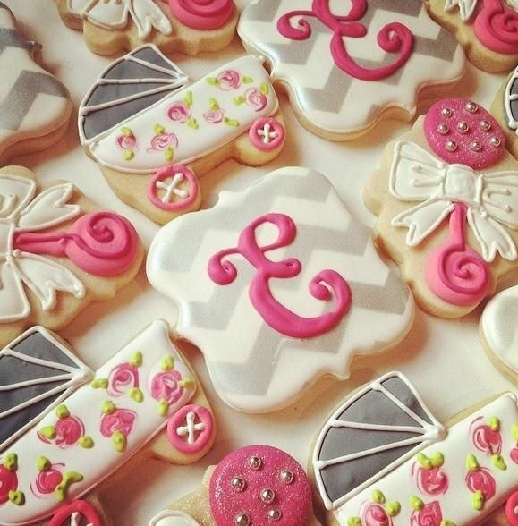 Baby Shower Cookies - Grey and Pink | Cookie Connection