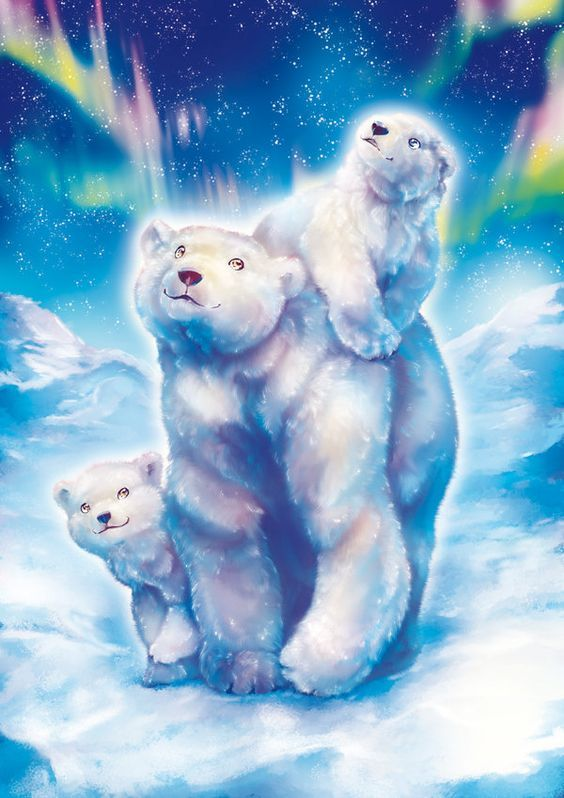 Картинки белые медведи северное сияние мультяшные, картинки аватарку