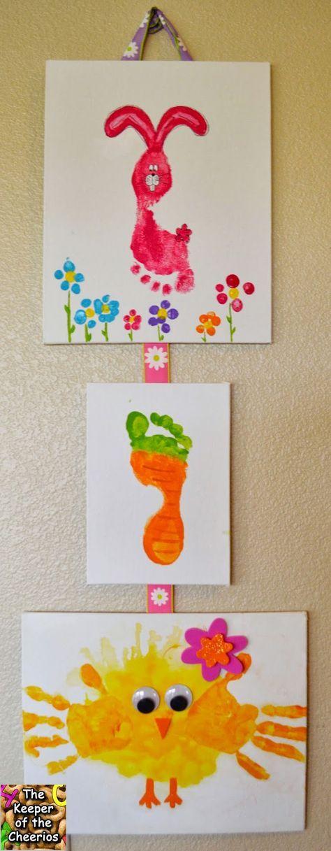 einfaches #Oster - Basteln mit Kindern: lustige #Figuren aus Hand- und Fußabdrücken mit Lebensmittelfarbe