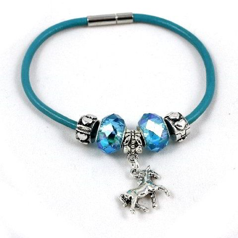 Charm Bead Horse Bracelet - Leather