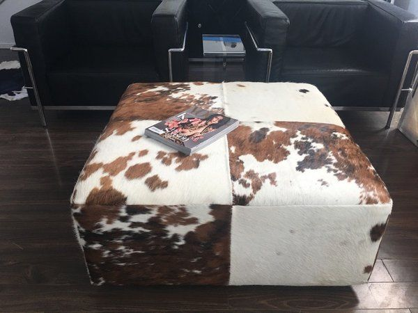 Genuine Leather-Brazilian Cowhide Ottoman Coffee Table