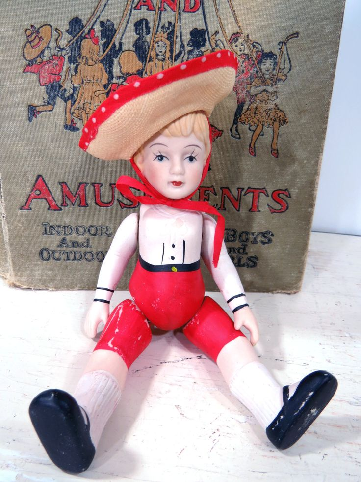 Large Vintage Bisque Doll with Straw Hat & Red Pants, Jointed, Articulated, Vintage Frozen Charlotte, Germany, Strawberry Blonde by UrbanRenewalDesigns on Etsy