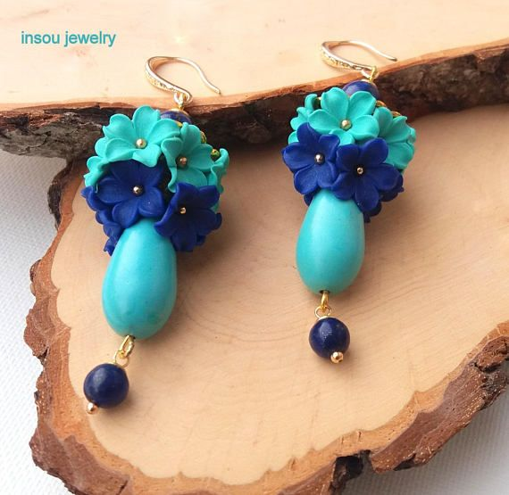 Turquoise Earrings, Flower Earrings, Spring Earrings, Handmade Earrings, Turquoise Blue Earrings, Spring Jewelry, Romantic Jewelry