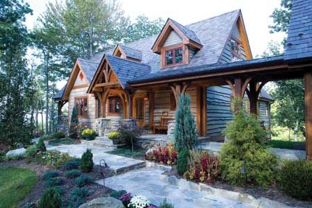 Mill creek post beam steel creek elevation timber for Steel beam house plans