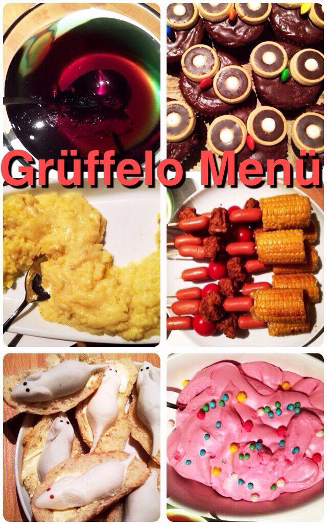 Grüffelo Menü - Eine super Kindergeburtstagsidee! Lest das Buch vor und reicht nach und nach die Gerichte zum Text. Ein Spaß für groß und klein!
