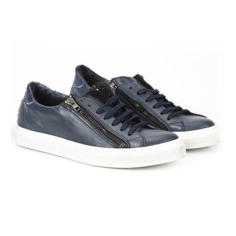 Uomini Italiani // Hanven Zipper Lace-Up Sneaker // Navy