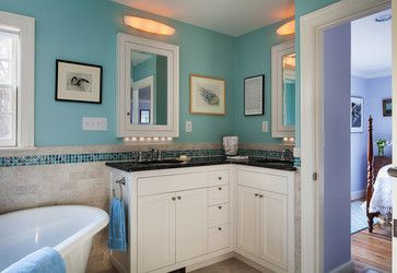 """""""L"""" Shaped Vanity Bath Design Ideas, Pictures, Remodel and Decor. Color scheme perfect. Like the accent tiles as back splash."""