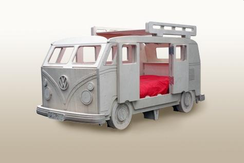 Vw camper van bed with roof rack storage by fun furniture for Campervan bedroom ideas
