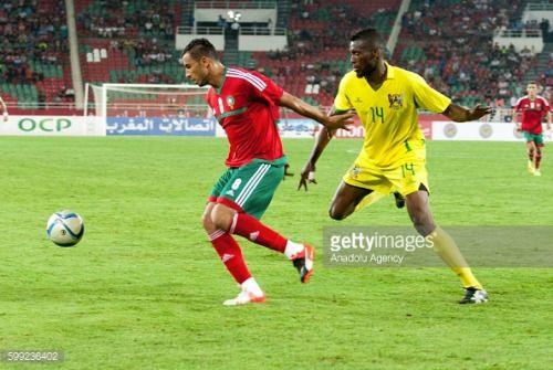 RABAT, MOROCCO - SEPTEMBER 04: Aziz Bouhaddouz of Morocco (L) is…