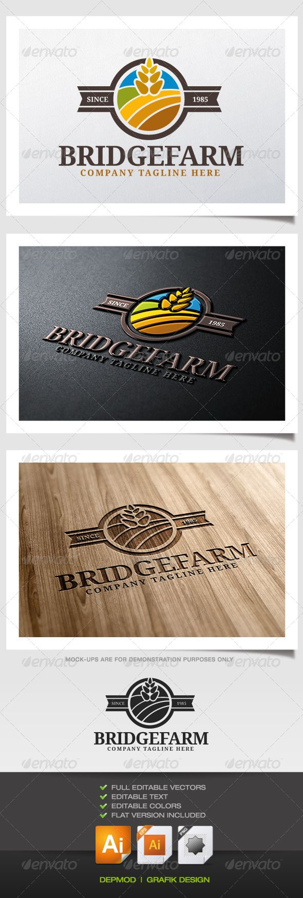 Agri cultures project logo duckdog design - Bridge Farm Logo Graphicriver Logo Of Fields Of Wheat And A Blue Sky Can