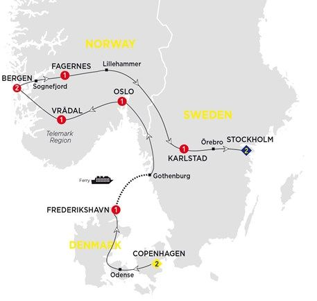 The land of the Vikings, deep fjords and the Northern Lights – Norway, Denmark and Sweden – are explored on this fascinating journey of discovery. Visit Copenhagen\u0027s Nyhaven, drive around the Hardangerfjord and spend the night on the shores of Lake Vänern.